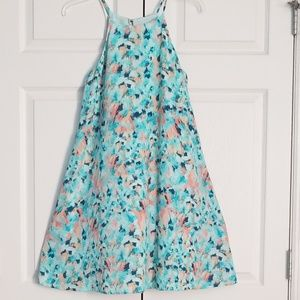 Teal paintbrush stroke silk dress